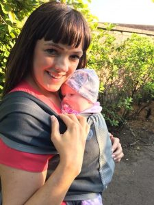 Enjoying the sunshine after our babywearing workshop